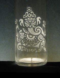 Ganesh Etched Glass Water Bottle by BottlenSoul on Etsy