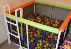 See how to make this easy DIY PVC pipe ball pit, that's easy to make, tons of fun for kids of all ages, and doesn't break the bank! Diy For Kids, Crafts For Kids, Diy Crafts, Decor Crafts, Cool Kids, Pvc Pipe Projects, Diy Projects, Pvc Pipe Crafts, Project Ideas