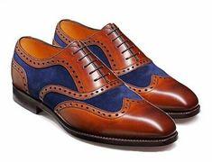 4 UK, Tan//Navy Boys New Tan Navy 5 Eye Brogue Oxford Shoe