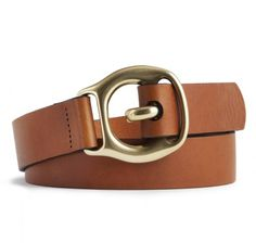 Trace carrier belt in tan bull leather by Sir Jack's. $85