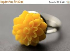 VALENTINE SALE Yellow Mum Flower Ring. Yellow Chrysanthemum Ring. Yellow Flower Ring. Yellow Ring. Adjustable Ring. Handmade Flower Jewelry. by StumblingOnSainthood from Stumbling On Sainthood. Find it now at http://ift.tt/2o6rq9n!