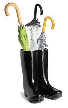 These fashion-forward pair of rain boots is the perfect place to park umbrellas.