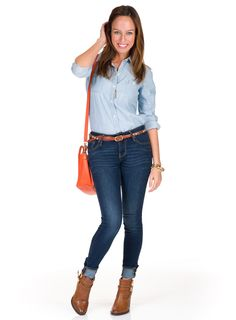 Sydne Style how to wear denim on denim double denim texan tuxedo old navy chambray shirt skinny jeans shoedazzle brown boots orange bag