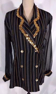 44d17ac1c379c Cristina Fashion Blazer Vtg 90s Sz L Sequins Sheer Sleeves Gangster  Halloween