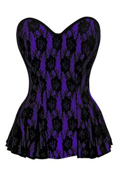 Purple Corset with Black Flower Lace Overlay