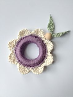 Purple Flower Wood Teether Crochet Teething by LittlestCrochetShop, $18.00