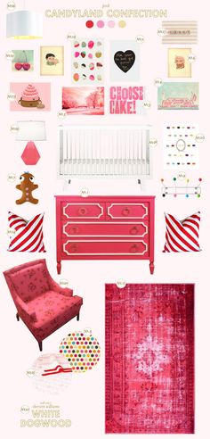 candyland baby girl nursery inspiration board