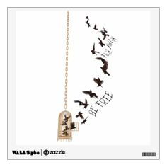 Be Free, Fly Away - Inspirational Wall Decal - A flock of crows escaping a birdcage. Great metaphor for life.  Decor for the home, interior design. Art.