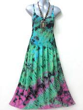 cffca89403e Peasant Summer Maxi Dress Sleeveless Tie Dye Green Pink Blue Free Size M L  XL Summer Maxi
