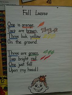 This is a cute FALL poem. Note that the number of brown leaves should be two according to the poem. I liked it, and pinned   from someone's blog but wanted to point out the correction.
