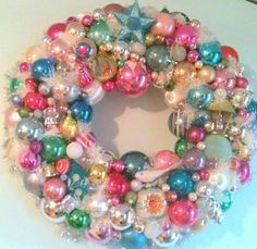 Antique Christmas Ornament Wreath by UpcyclerEmporium on Etsy