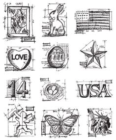 Tim Holtz - Cling Mounted Rubber Stamp Set - Mini Blueprints 2