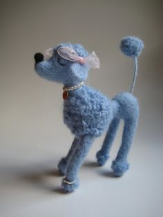 Needle Felted Snooty Poodle Blue by MelaniesMenagerie on Etsy