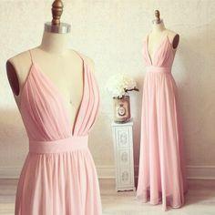 Pink prom dress,A-line chiffon prom dresses,simple pink V-neck long evening dress,cheap dresses