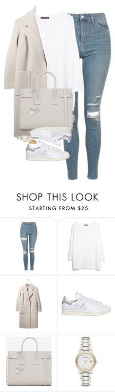 """""""Untitled #1215"""" by lovetaytay ❤ liked on Polyvore featuring Topshop, MANGO, Boutique, adidas, Yves Saint Laurent, Burberry and Shaun Leane"""