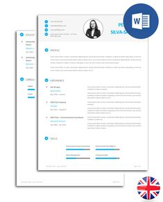 Resumé (CV) model fully editable in Word. The model is organised in text boxes, so you can easily change the font and colour of the text. Files include all the icons seen in the image. Cv Models, Resume Models, Best Resume, Resume Cv, Cv Template, Templates, Word 2016, Pdf Book