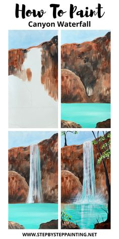 Canvas Painting Tutorials, Easy Canvas Painting, Diy Canvas Art, Diy Painting, Watercolor Art Lessons, Painting Lessons, Watercolor Paintings, Gouache Painting, Waterfall Paintings