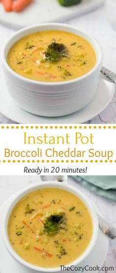 This thick and creamy instant pot broccoli cheddar soup soup is loaded with fresh broccoli and your favorite cheeses, and is ready in less than 20 minutes start to finish! | The Cozy Cook | #Soup #InstantPot #Broccoli #Cheddar #Cheese #ComfortFood #Cheddar #Dinner #Recipe Broccoli Soup Recipes, Cream Of Broccoli Soup, Broccoli Cheese Soup, Fresh Broccoli, Broccoli Cheddar, Cheddar Cheese, Broccoli Pasta, Broccoli Casserole, Fresh