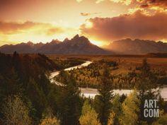 Teton Range at Sunset, Grand Teton National Park, Wyoming, USA Photographic Print by Adam Jones at Art.com