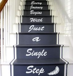 Wall Decals Quote Every Journey Begins... Staircase Stairway Stairs Words Phrase Home Vinyl Decal Sticker Kids Nursery Baby Room Decor Every