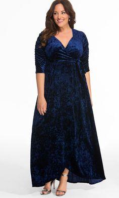 3d21ddf463bf Plus Size Long Sleeve Velvet Maxi Dress | Plus Size Dresses | Velvet ...