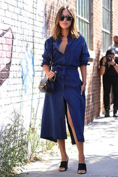 Aimee Song, looking totally on-point per usual, in a chambray shirtdress that's ultrachic. Mule stilettos and a seek bag lend dressy downtown edge to the relaxed denim. Fashion inspiration from head-to-toe!