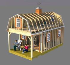 Use these 12x22 gambrel shed home plans to build a neat shed home, small cabin, tiny house, or small cottage.