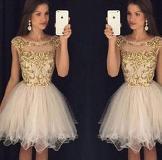 Luxury A-line Cap Sleeves Gold Embroidery Nude Tulle Homecoming Dresses,Short Party Dresses,Hot 77