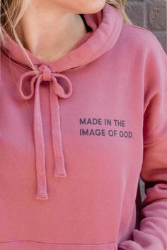 """This """"Made in the Image of God"""" unisex hoodie is seriously the comfiest hoodie you'll ever wear. In Latin, """"image of God"""" is """"imago dei"""". Shop Elevated Faith for more Christian hoodies, Christian apparel and more! Christian Hoodies, Christian Clothing, Christian Apparel, Christian Tee Shirts, Christian Jewelry, T Shirt Custom, Jesus Clothes, Cute Shirt Designs, Jesus Shirts"""