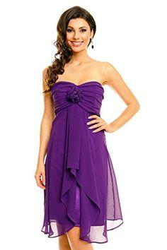 Damen trägerloses Cocktailkleid Abiballkleid Abendkleid Chiffonkleid lila L