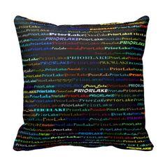 Prior Lake Text Design I Throw Pillow