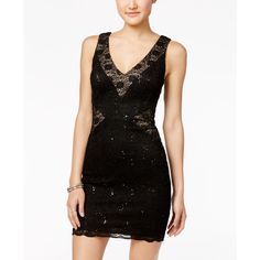 dfc0a1dd4 Trixxi Juniors' Sequined Lace Bodycon Dress ($40) ❤ liked on Polyvore  featuring dresses, sequin dresses, going out dresses, lacy dress, body con  dresses ...