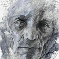 Ernest Pignon Ernest - Art Urbain - Portrait Pasolini Banksy, Art Visage, Monochromatic Art, Scratchboard, Charcoal Drawing, Street Artists, Art Plastique, Les Oeuvres, Printmaking
