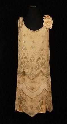MOLYNEUX BEADED CHIFFON FLAPPER DRESS - 1920's.