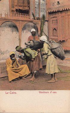 Postcard Water Sellers Cairo Egypt | eBay