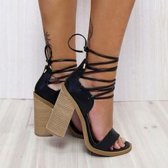 """""""'TEGAN' In Black ✔️ All laced up. The perfect lace up summer block heel…"""