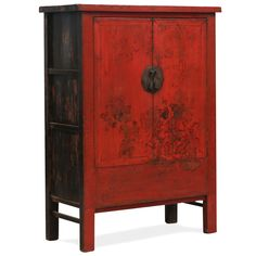 Chinese Red Lacquer Wedding Cabinet with Gold Paintings #ChineseFurniture