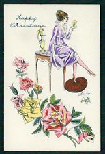 SMALL SIZE Card art Xavier Sager hand painted pochoir original old c1910-1920s