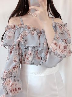 Neo flower off shoulder blouse Korean Fashion Dress, Kpop Fashion Outfits, Girls Fashion Clothes, Ulzzang Fashion, Edgy Outfits, Korean Outfits, Cute Casual Outfits, Cute Fashion, Look Fashion