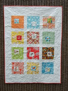 square in square baby quilt by Anne@surelynotanotherproject, via Flickr