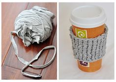 How-to: Upcycle an Old T-shirt into a Yarn Coffee Cup Sleeve