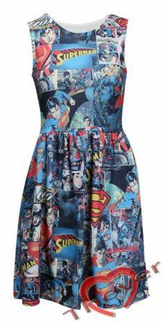 Womens Skater Skirt Sleeveless Superhero Superman Mini Dress