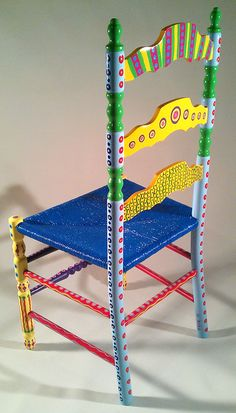 Hand Painted Furniture Colorful Crazy Ladder Back Chair.