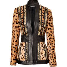 BALMAIN Leather/Leopard Print Haircalf Chain Embellished Jacket ($10,235) found on Polyvore