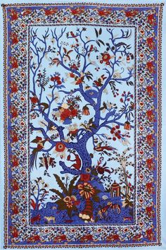 Blue Tree of Life Tapestry in 3D