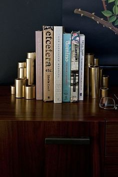 Gold Bookends | Spray painting some PVC pipe, you can make some sleek and modern bookends!