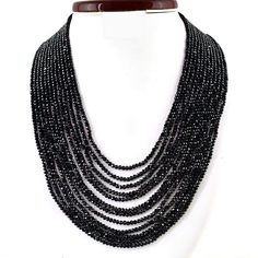 gemsmore:12 Strand Black Spinel Necklace Natural Faceted Round Beads Black Spinel, Round Beads, Beaded Necklace, Crystals, Natural, Jewelry, Beaded Collar, Jewlery, Bijoux