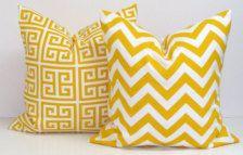 yellow print cushion set