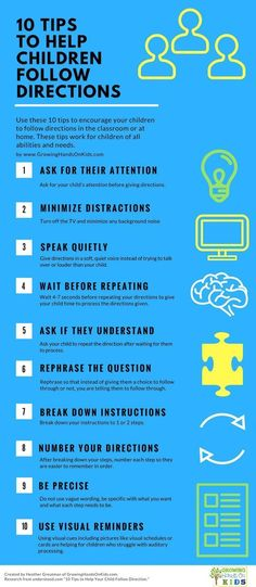 10 tips for teaching children how to follow directions in the classroom or home. Repinned by SOS Inc Resources at www.pinterest.com/sostherapy/