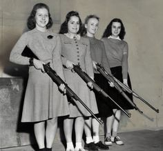 A Chicago chapter of a women's defense group. Wartime women can hold guns too. Gorgeous wool sweaters, ankle socks and oxfords complete this armed look. Vintage Photographs, Vintage Photos, Vintage Prints, Awkward Photos, Armada, Tumblr, Dangerous Woman, Guns And Ammo, Punk